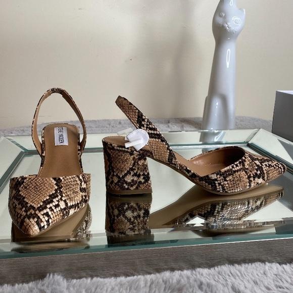 Steve Madden snake print, block heel sling back